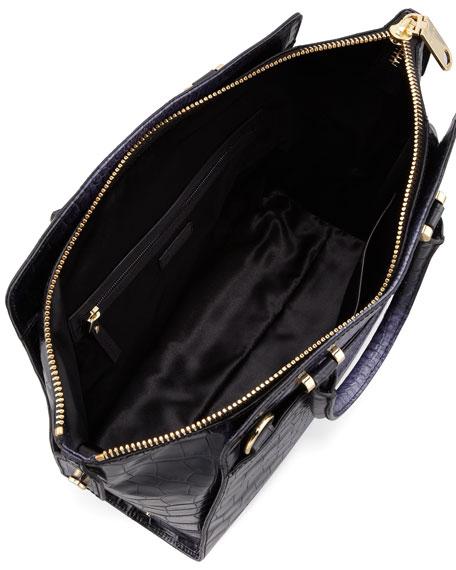 Callan Croc-Embossed Tote Bag, Purple