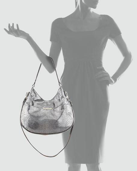Layne Snake-Embossed Leather Bucket Bag, Gray