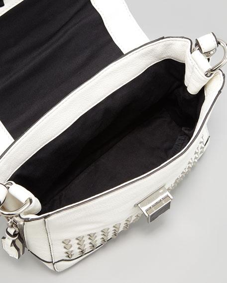 Elle Mini Studded Satchel Bag, White
