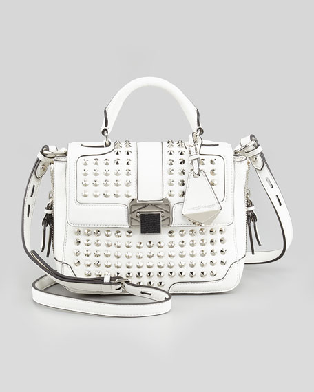 Elle Mini Studded Satchel Bag, White