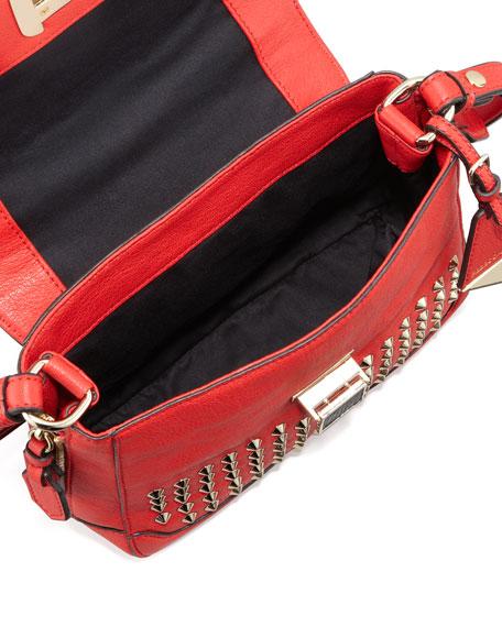 Elle Mini Studded Satchel Bag, Scarlet
