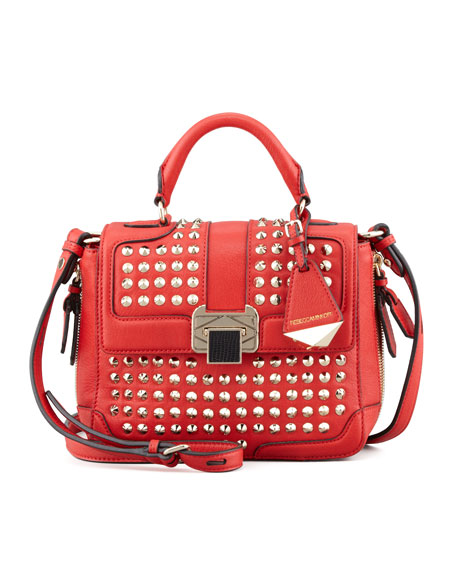 Elle Mini Studded Satchel Bag, Scarlet