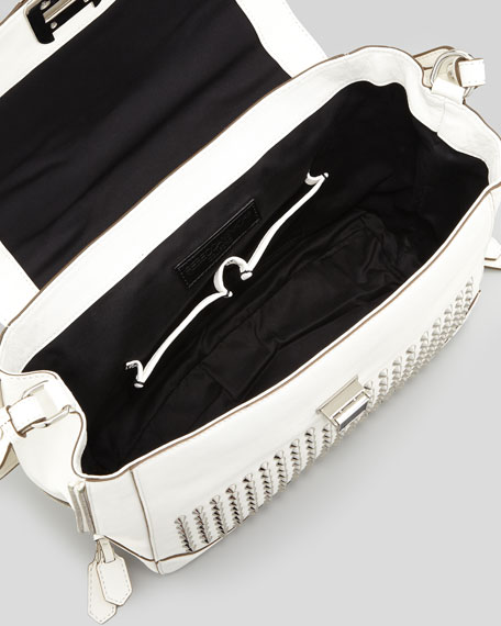 Elle Studded Leather Satchel Bag, White