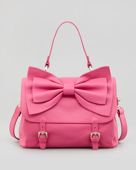 Buckled Bow-Front Satchel Bag, Pink