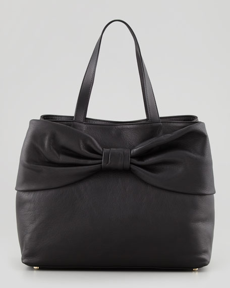 Calfskin Leather Bow Tote Bag, Black