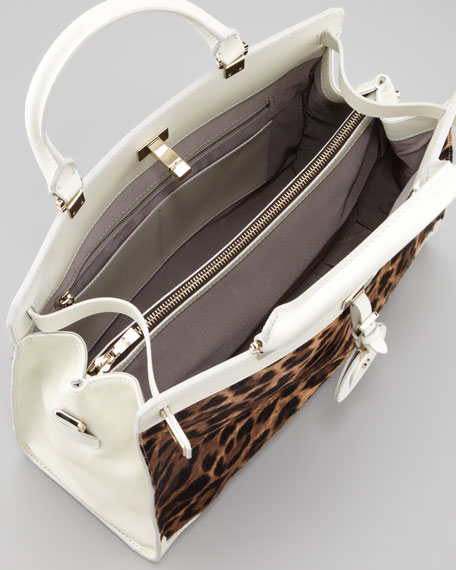 Jourdan Leopard-Print Tote Bag, Brown/White