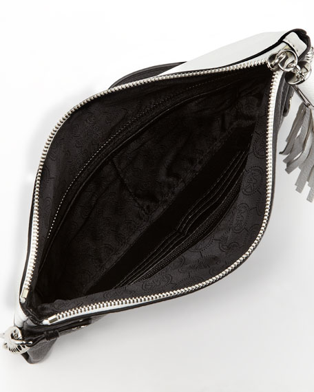 Bedford Tassel Two-Tone Foldover Clutch