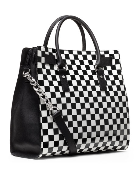 Large Hamilton Checkerboard-Print Tote