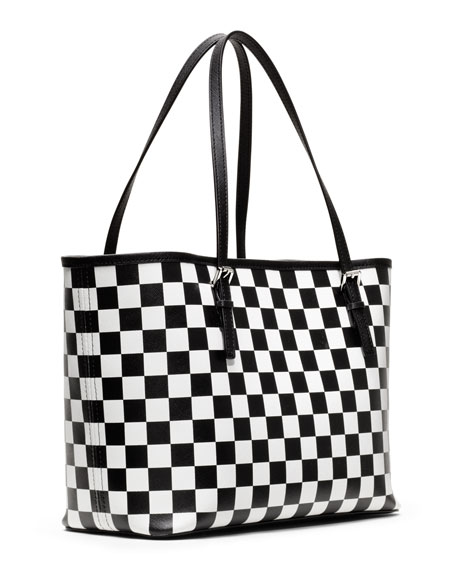 bed01432fd0b ... low price small jet set checkerboard print tote michael kors 1ee46 63c24