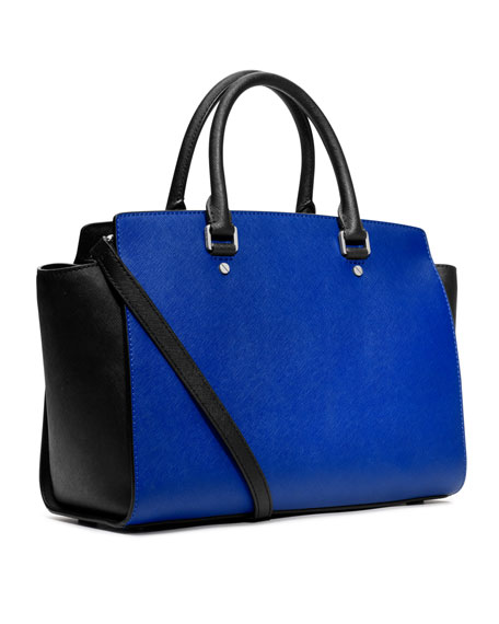 Large Selma Two-Tone Satchel