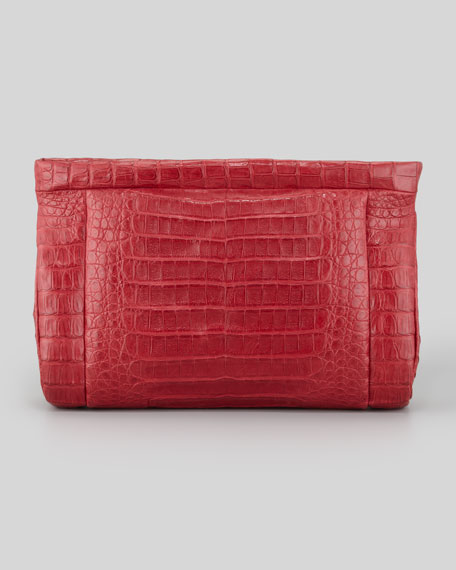 Crocodile Soft Clutch Bag, Red