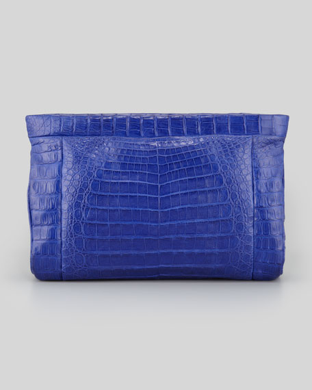 Crocodile Soft Clutch Bag, Cobalt