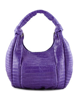 Nancy Gonzalez Crocodile Knotted-Handle Hobo Bag, Purple
