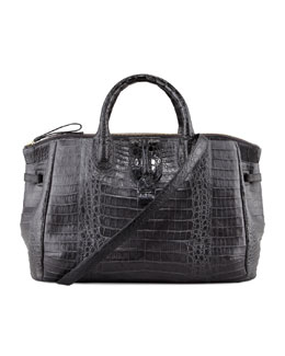 Nancy Gonzalez Center-Zip Crocodile Tote Bag, Gray