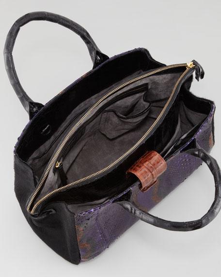 Crocodile, Python & Calf Hair Center-Zip Tote Bag