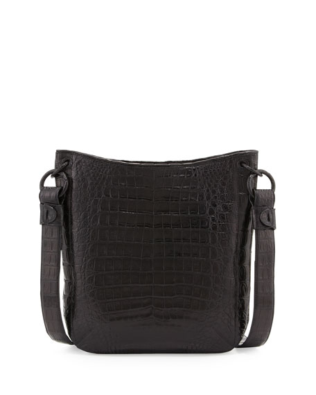 Crocodile Crossbody Bag, Black