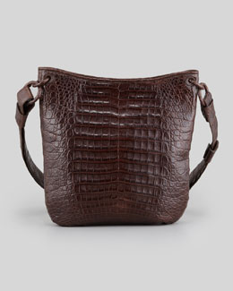 Nancy Gonzalez Small Crocodile Crossbody Zip-Top Bag, Brown