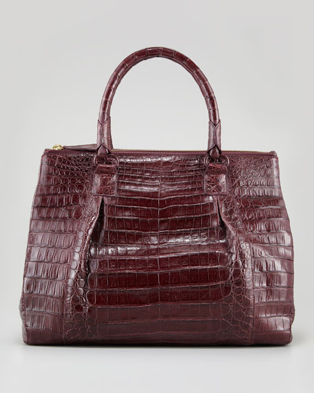 Executive Double-Zip Crocodile Tote Bag, Wine