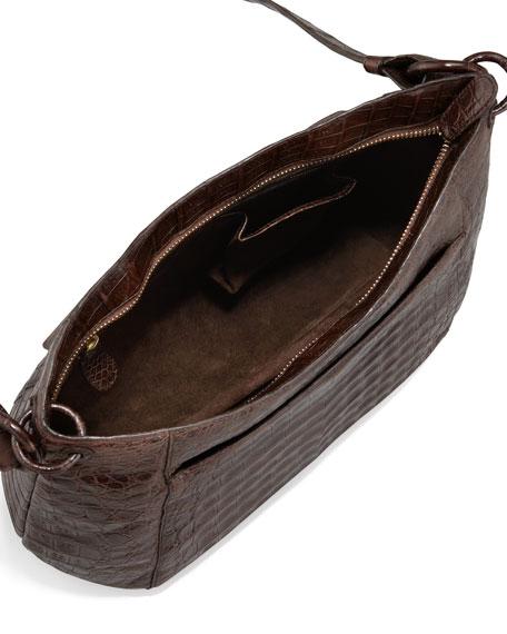 Crocodile Crossbody Zip-Top Bag, Brown