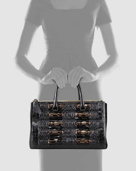 Crocodile, Python, & Calf Hair Tote Bag, Black