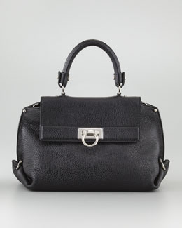 Salvatore Ferragamo Sofia Mini Fold-Side Satchel Bag, Black