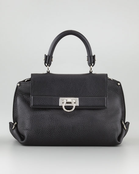 Sofia Mini Fold-Side Satchel Bag, Black