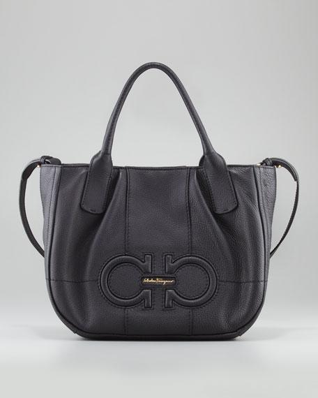 Izzie Gancini-Embossed Tote Bag, Black
