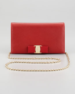Salvatore Ferragamo Mini Vara Crossbody Wallet Clutch Bag, Red