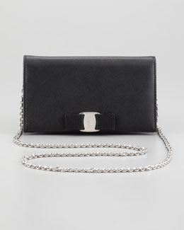Salvatore Ferragamo Mini Vara Crossbody Wallet Clutch Bag, Black