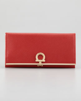 Salvatore Ferragamo Gancini Icona Continental Wallet, Red