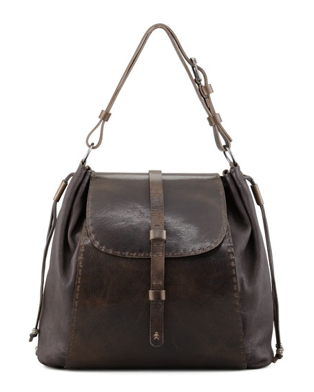 Nostalgia Drawstring Flap-Top Shoulder Bag, Brown