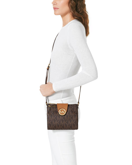 Fulton Large Logo Crossbody, Brown