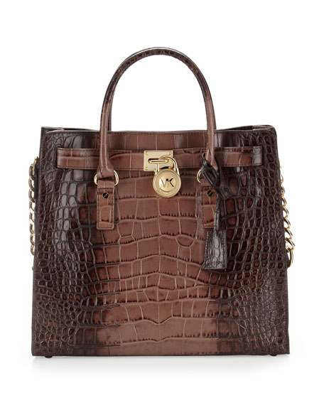 Large Hamilton Crocodile-Embossed Tote