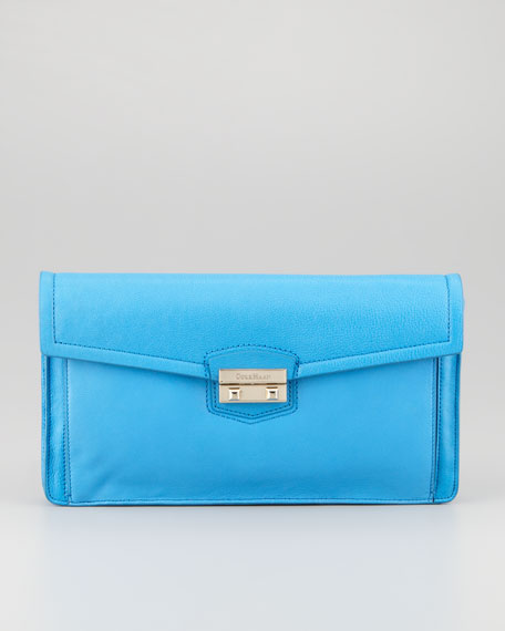 Zoe Leather Flap-Top Clutch, Blue Topaz