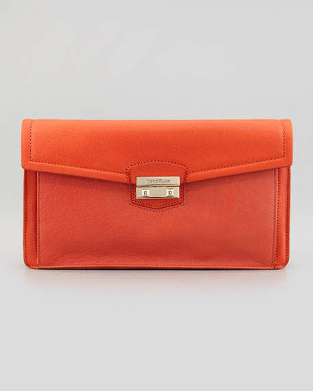 Zoe Leather Clutch Bag, Orange