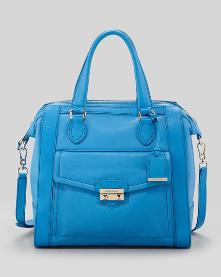 Zoe Structured Leather Satchel, Blue Topaz