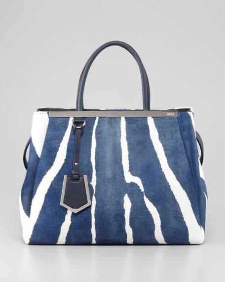 2Jours Medium Zebra-Print Calf Hair Tote Bag, Blue/White
