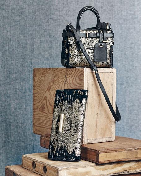 Printed Suede T-Pin Clutch Bag, Black/Gold