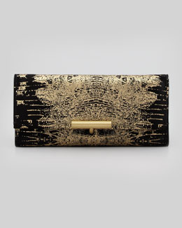 Reed Krakoff Printed Suede T-Pin Clutch Bag, Black/Gold