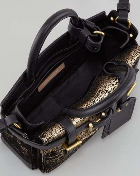 Boxer Micro Shoulder Bag, Black/Gold