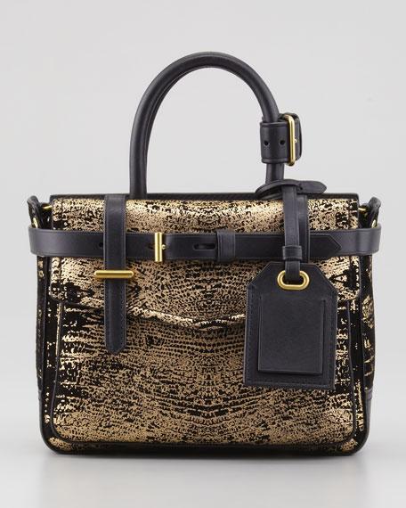 Boxer Micro Shoulder Bag, Black/Gold