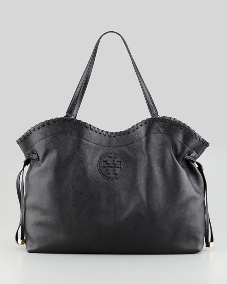 Marion East-West Slouchy Tote Bag, Black