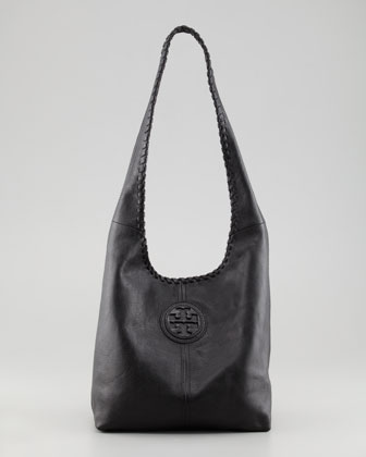 Marion Whipstitched Hobo Bag, Black