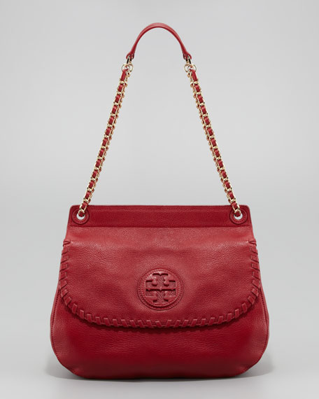 Marion Leather Saddle Bag, Red