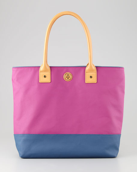 Jaden Large Nylon Tote Bag, Pink/Navy