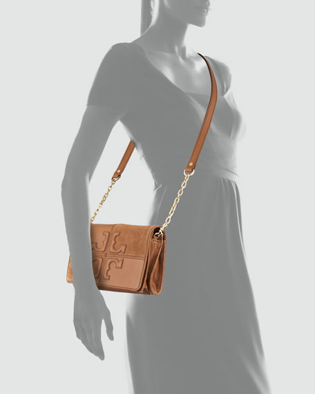 Natalie Suede & Leather Crossbody Bag, Brown