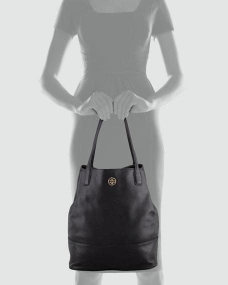 Michelle Leather Tote Bag, Black