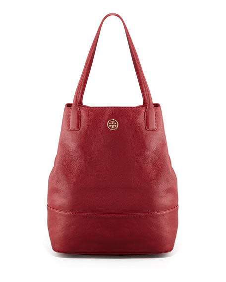 Michelle Leather Tote Bag, Red