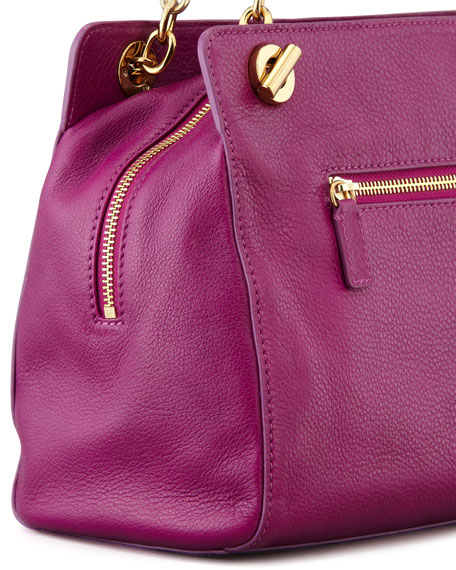 Priscilla Calf Hair Shoulder Bag, Fuchsia