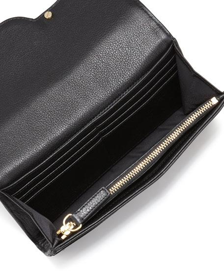Amanda Continental Flap Wallet, Black